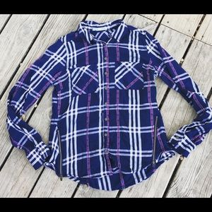Maurice's Plaid Button Down w/ Zipper Accents